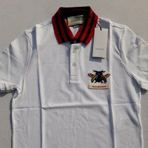 GUCCI BREAST BEE EMBROIDERED MEN'S WHITE SHIRT